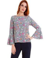 blusa kinara mix floral manga flare feminina