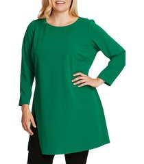 plus size women's vince camuto long sleeve side slit crepe tunic, size 2x - green