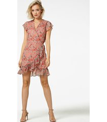 freebird flower-pes-01 mini dress short sleeve rosy turquoise