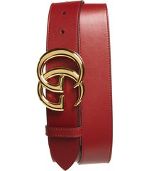 men's big & tall gucci gg logo leather belt, size 120 eu - red