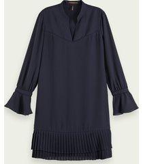 scotch & soda mini-jurk met lange mouwen en geplooide zoom