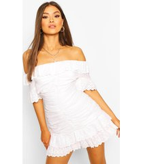 broderie off shoulder ruched mini dress, white
