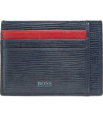 boss hugo boss men's logo-print card case - black