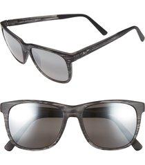 men's maui jim tail slide 53mm polarized sunglasses - matte grey stripe