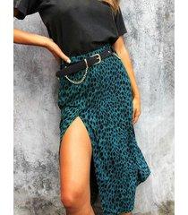blue slit diseño falda de talle alto de leopardo