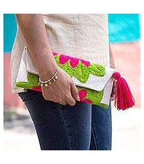 cotton blend clutch, 'wrap around bloom in ruby red' (mexico)
