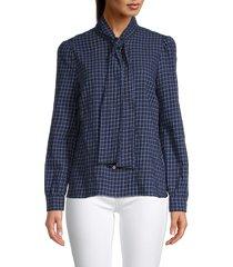 redvalentino women's check tie-neck shirt - blue - size 44 (12)