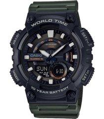 reloj casio aeq-110w-3a para caballero negro/ verde deportivo