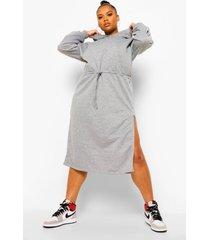 plus midi hoodie jurk, grey