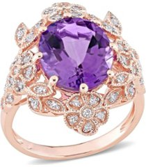 amethyst (4 ct. t.w.) and diamond (1/4 ct. t.w.) floral vintage cocktail ring in 14k rose gold