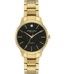 kenneth cole new york men's gold-tone stainless steel bracelet watch, 41mm