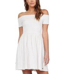 roxy juniors' off-the-shoulder smocked dress