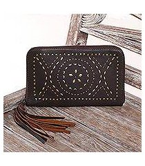 leather wallet clutch, 'borobudur stars in chocolate' (indonesia)