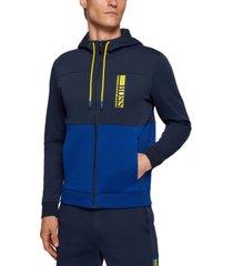 boss men's interlock zip hooded sweatshirt