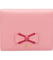 prada small saffiano leather wallet with bow - pink