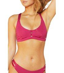 women's hurley max surf bikini top, size x-large - burgundy