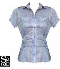 blusa camisera manga corta sarab - azul
