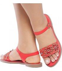 sandalia plana rojo destellos jd2014