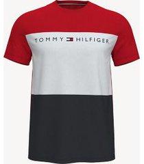 tommy hilfiger men's essential colorblock logo t-shirt navy/ red / white - m