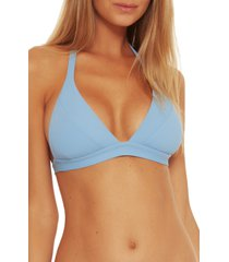 women's becca fine line rib bikini top, size d - blue
