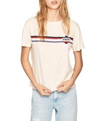 camiseta blanco hueso-azul-rojo pepe jeans