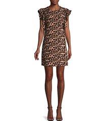 leopard-print ruffled mini dress