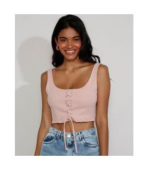 top cropped feminino corset com lace up alça larga decote reto rosê