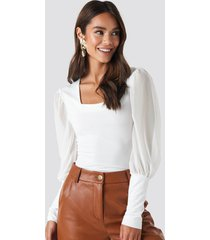 na-kd party mesh contrast sleeve jersey blouse - white