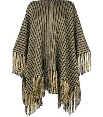 saint laurent knitted poncho dress - black