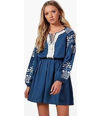 boutique lara embroidered tassel dress