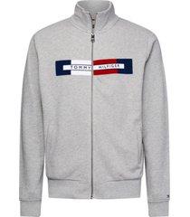 chaqueta de cremallera con logo gris tommy hilfiger