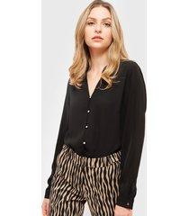 blusa ash doble tela negro - calce regular
