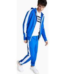 karl lagerfeld paris men's slim-fit stretch hooded & striped track jacket