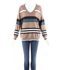 brunello cucinelli brown striped knit beaded sequin v-neck sweater brown/multicolor sz: l