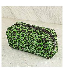 cotton cosmetic case, 'kiwi spots' (ghana)