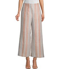 downing striped linen cropped wide-leg pants