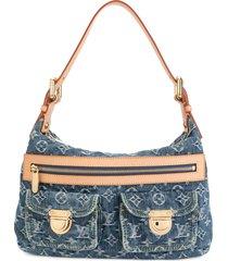 louis vuitton pre-owned baggy pm monogram denim shoulder bag - blue