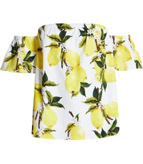 women's english factory lemon print off the shoulder top