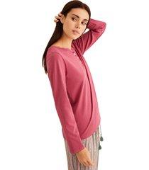 camiseta de algodón, manga larga multicolor women secret 327714372xl