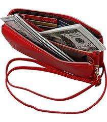 donna vera pelle pochette con 6 slot per schede borsa borsa a tracolla solida borsa