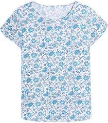 camiseta m/c azul con estampado mini flores color azul, talla l