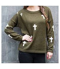 alpaca blend sweater, 'forest crosses' (peru)