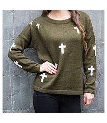 alpaca blend sweater, 'forest crosses' (peru)