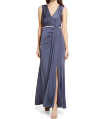 women's vince camuto rhinestone belt wrap front sleeveless gown, size 2 - grey