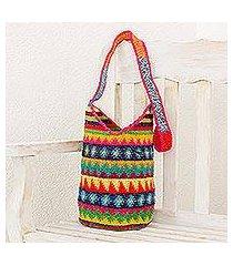 crocheted cotton bucket bag, 'multicolored geometry' (guatemala)