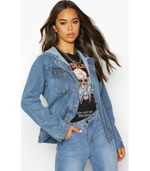 oversized hooded jean jacket, mid blue