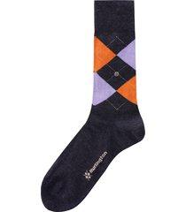 burlington socks melange edinburgh |navy & lilac|  21182-6280