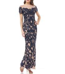 women's js collections soutache lace illusion gown, size 2 - blue