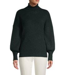 sweet romeo women's puff-sleeve turtleneck sweater - heather grey - size m