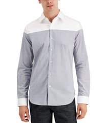 dkny men's cut and sew micro plaid shirt, created for macy's